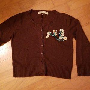 EUC Free People Brown Embellished Cardigan Large